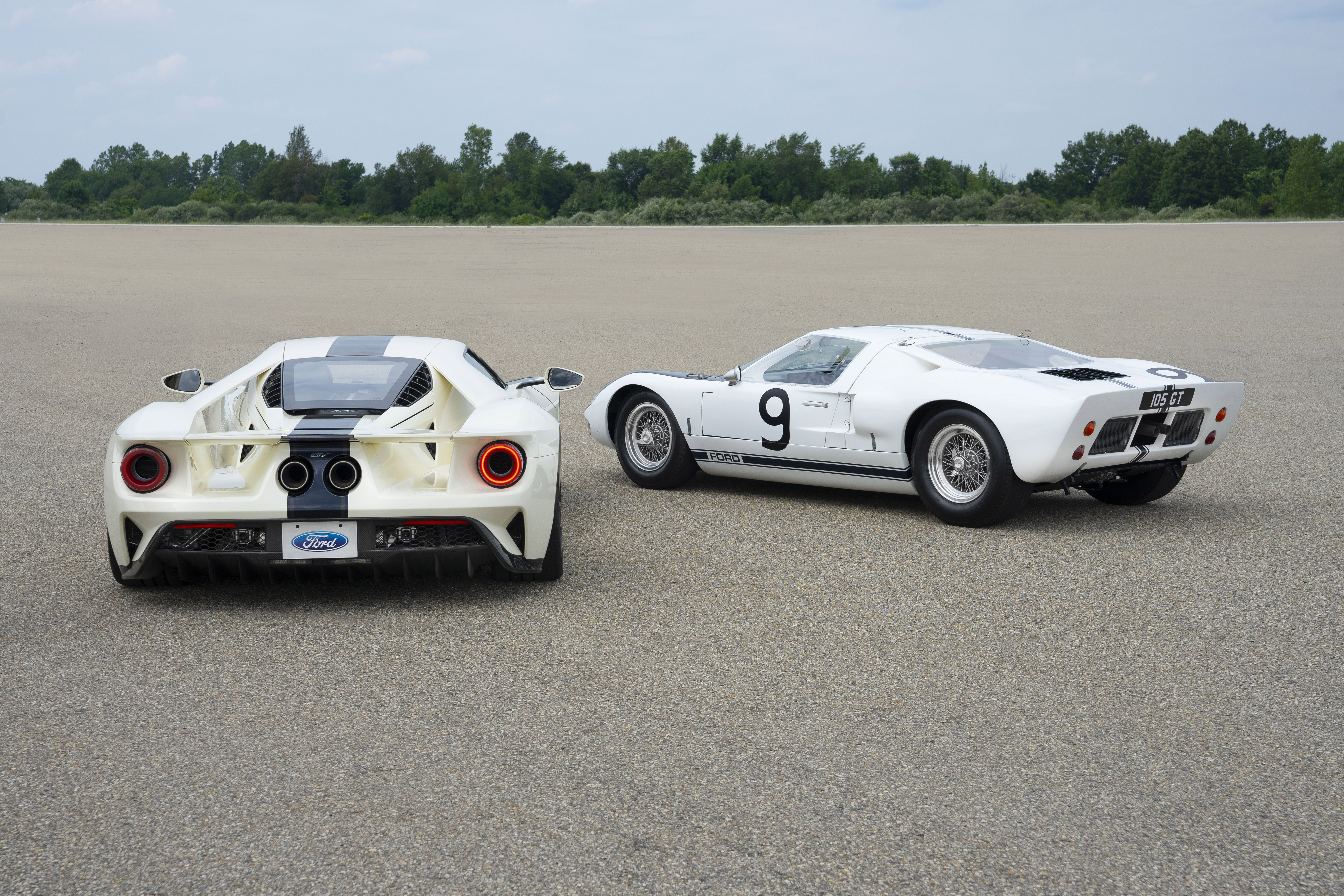 Preproduction 2022 Ford GT Heritage Edition shown.   1964 Ford GT Prototype shown. Closed course..